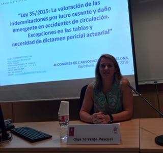 L'Associació participa al 4t Congrés de l'Advocacia de Barcelona. Conferència a l'ICAB de la nostra associada Olga Torrente.